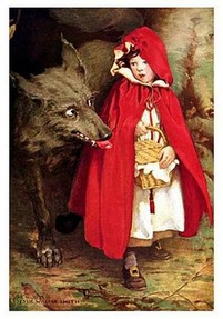 Red Riding Hood and Big Bad Wolf by Jessie Wilcox Smith