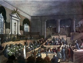 Depiction of London's Old Bailey court around the time that Sir William Garrow practiced there.
