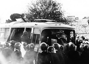 Image:  Bus at the Battle of the Beanfield