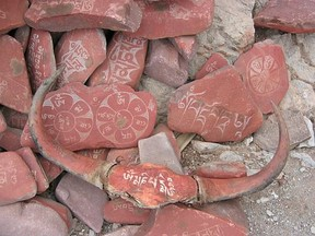 Mantras carved onto rocks for meditation