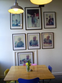 Photos of Hockney in Cafe at Salts Mill