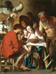 Satyr visiting a peasant, painting by Jacob Jordaens