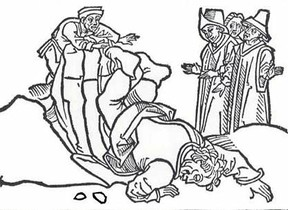 Aesop's death, woodcut from 15th century