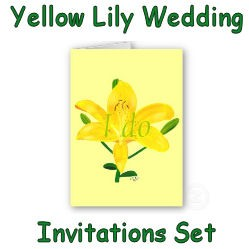 Yellow Lily Wedding Invitations Set Photo