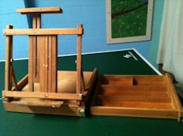 Table Easel with Side Drawer, open.