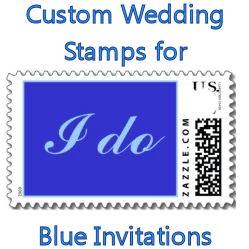 Custom Wedding Stamps for Blue Invitations image
