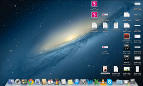 A cluttered Mac desktop