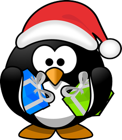 Image: Cartoon penguin holding gifts