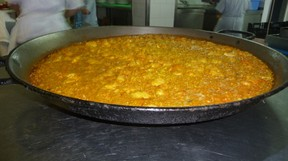 The famous Valencia Paella as served in La Pepica restaurant