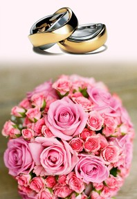 Image: Wedding Rings with a pink bouquet