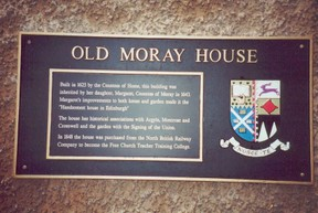 Image: Old Moray House Plaque