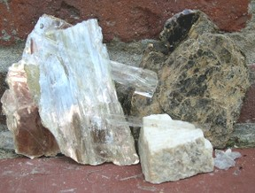 mica and feldspar