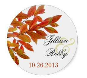 fall leaves wedding sticker