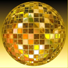 Image: Golden disco ball.
