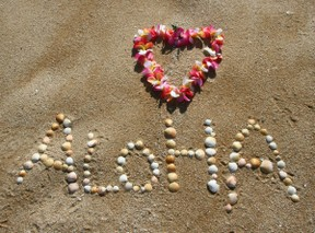 aloha in shells on beach with lei