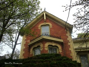Detail of upper level of house in Cabbagetown, Toronto
