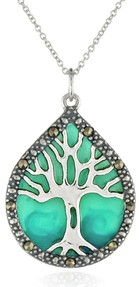 Sterling Silver, Marcasite, and Blue Epoxy Tree of Life Pendant Necklace, 18""