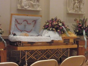 casket at funeral home