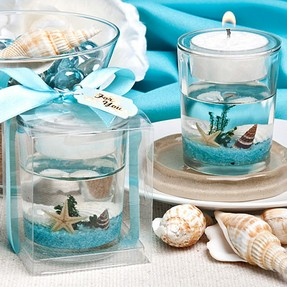 beach wedding favor candle