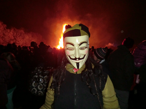 Image: Lone Anon in the Million Mask March 2014