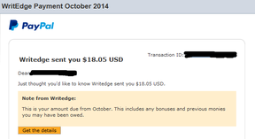 Writedge payment proof October 2014