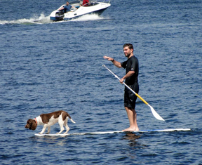 boating and paddleboarding