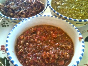 Three different salsas