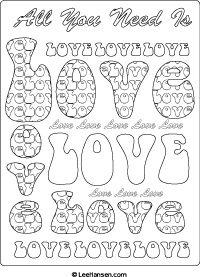 Love subway art adult coloring sheet, leehansen.com