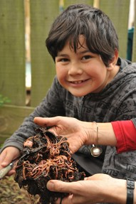 boy holds composting worms
