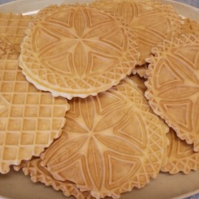 Pizzelle on a platter
