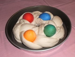 Bread dough with colored eggs