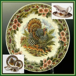 Chic Thanksgiving Turkey Platters and Dinnerware Set & Dining Party Buffet of Pumpkin Halloween Dinnerware Sets and ...